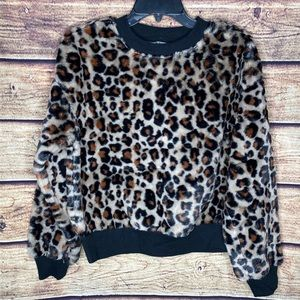 Wild Fable Plush Faux Fur Leopard Sweatshirt NWOT